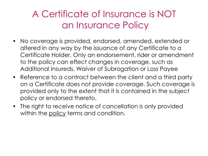 A Certificate of Insurance is NOT