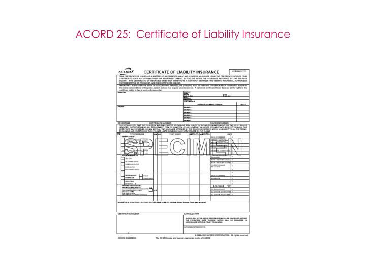 ACORD 25:  Certificate of Liability Insurance