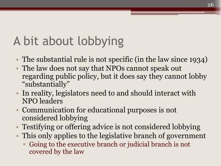 A bit about lobbying