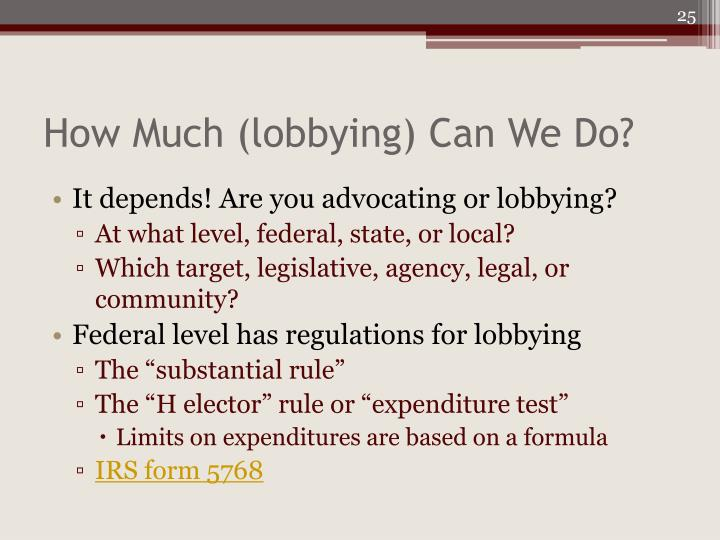 How Much (lobbying) Can We Do?