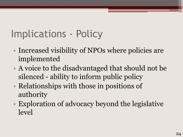 Implications - Policy