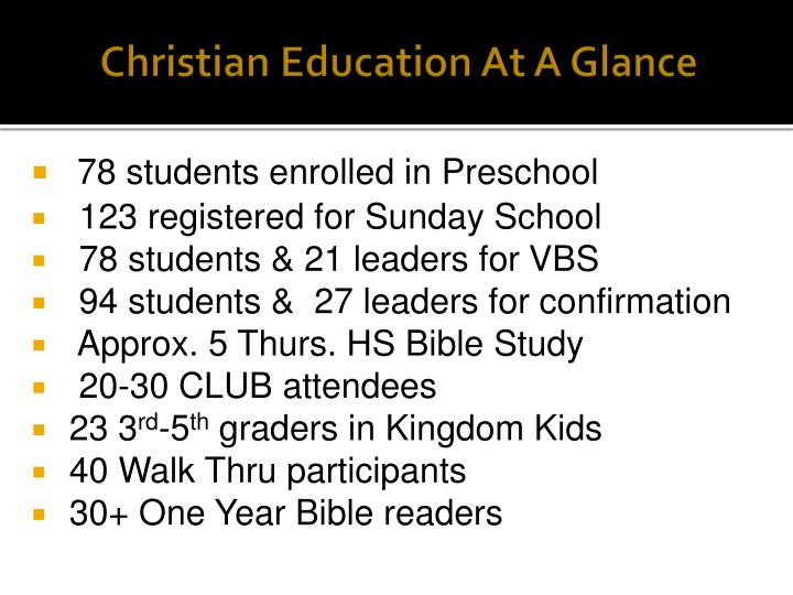 Christian Education At A Glance