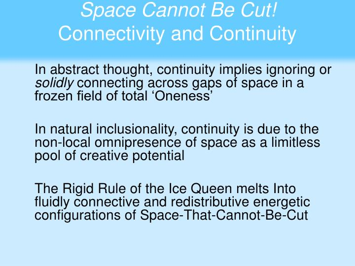 Space Cannot Be Cut!
