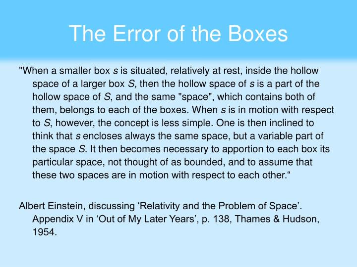 The Error of the Boxes