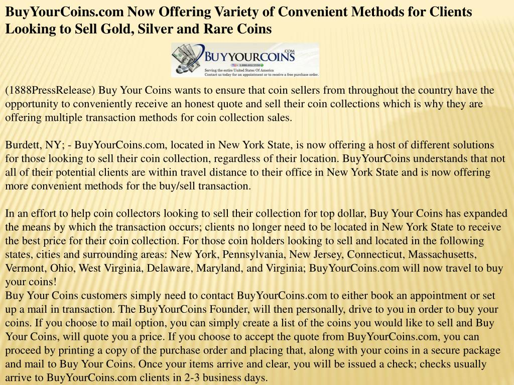BuyYourCoins.com Now Offering Variety of Convenient Methods for Clients Looking to Sell Gold, Silver and Rare Coins