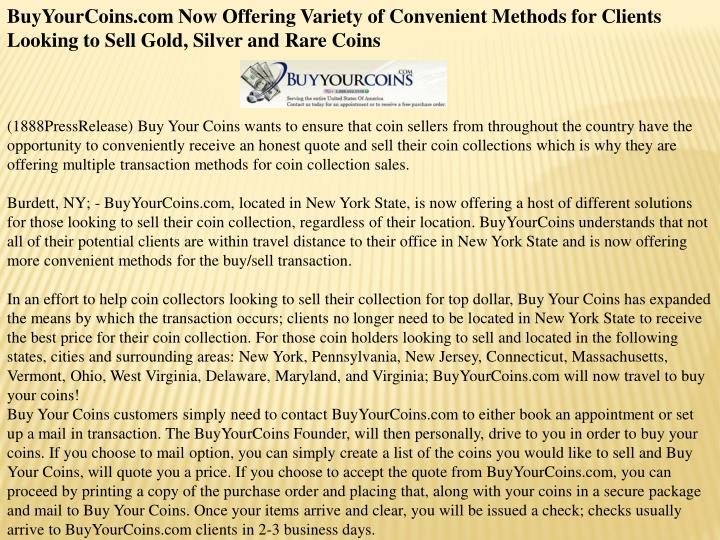 BuyYourCoins.com Now Offering Variety of Convenient Methods for Clients Looking to Sell Gold, Silver...