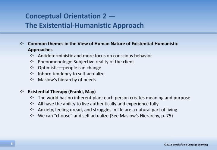 existential psychology and humanistic approach use in modern perspective Existential psychotherapy is a style of therapy that places emphasis on the human condition as a whole existential psychotherapy uses a positive approach that applauds human capacities and.