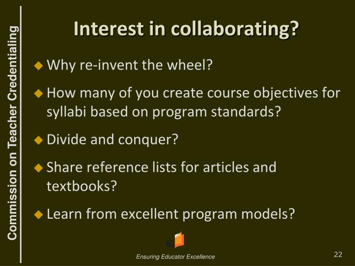 Interest in collaborating?