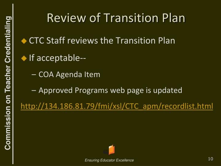 Review of Transition Plan
