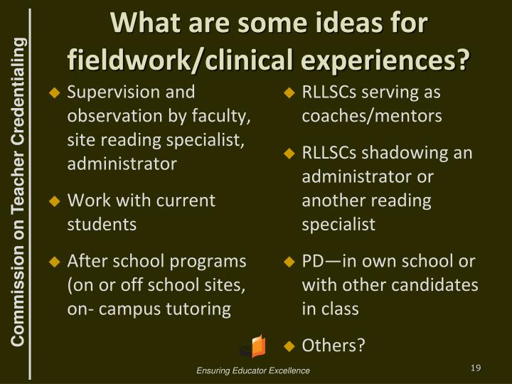 What are some ideas for fieldwork/clinical experiences?