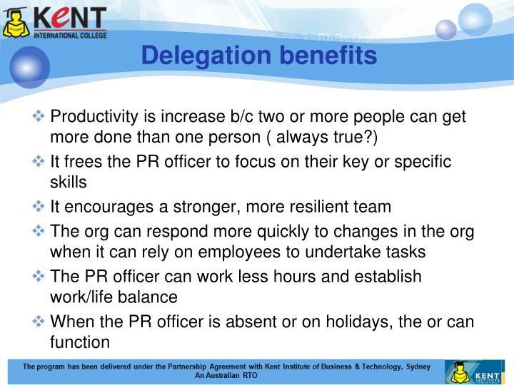 Delegation benefits