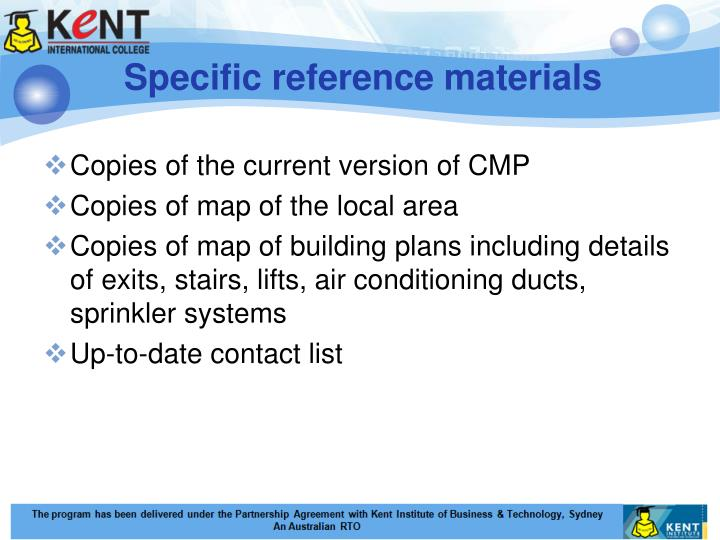 Specific reference materials
