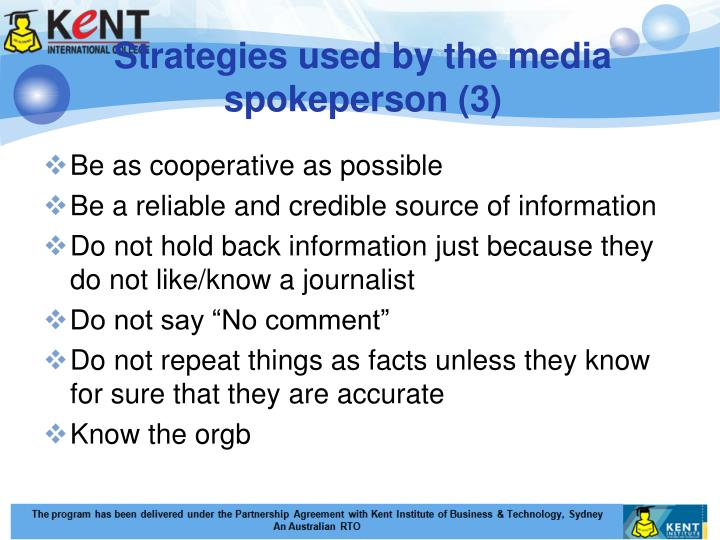 Strategies used by the media