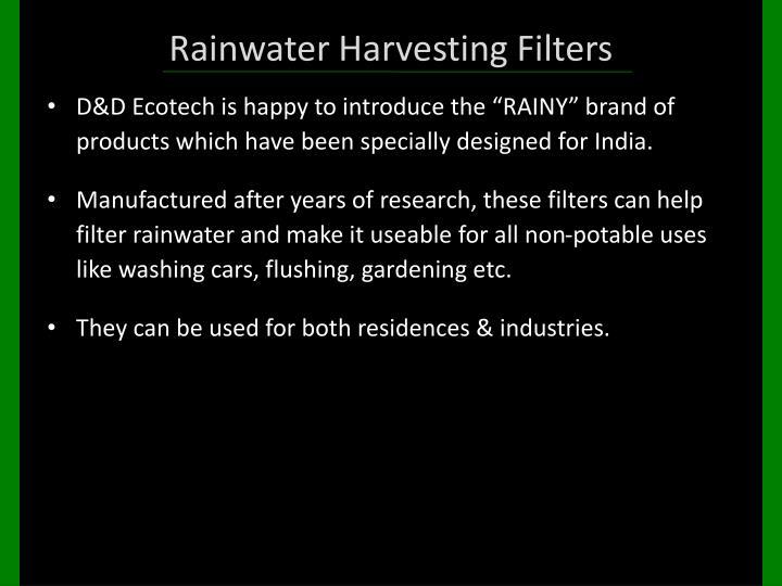 Rainwater Harvesting Filters