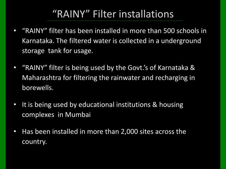 """""""RAINY"""" Filter installations"""
