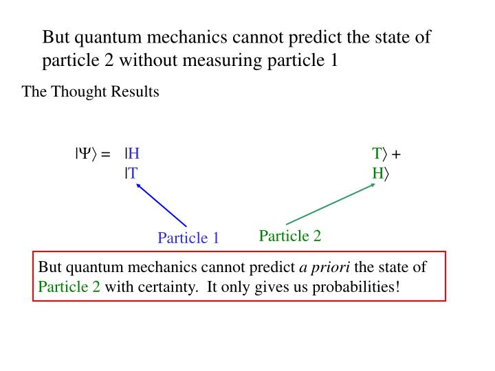 But quantum mechanics cannot predict the state of particle 2 without measuring particle 1