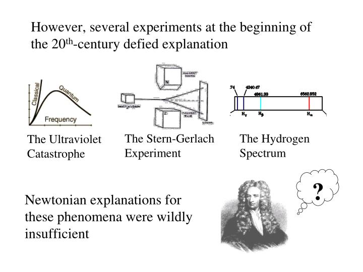 However, several experiments at the beginning of the 20