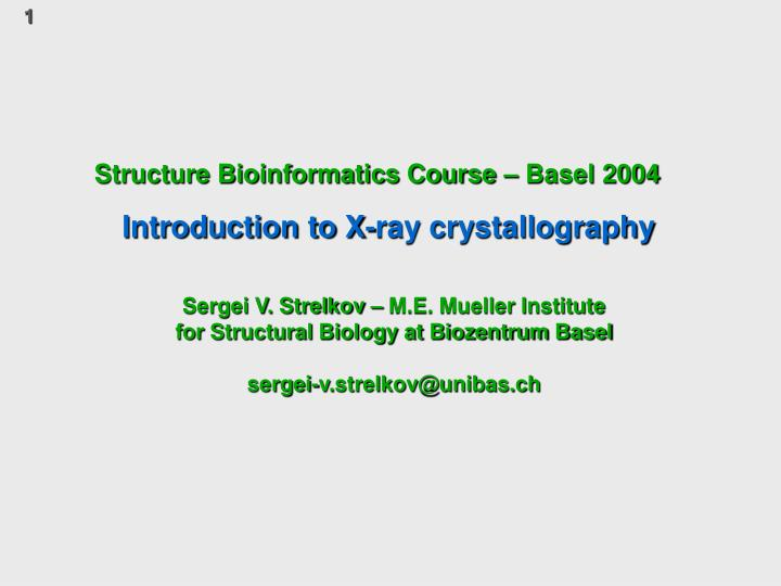 structure bioinformatics course basel 2004 n.