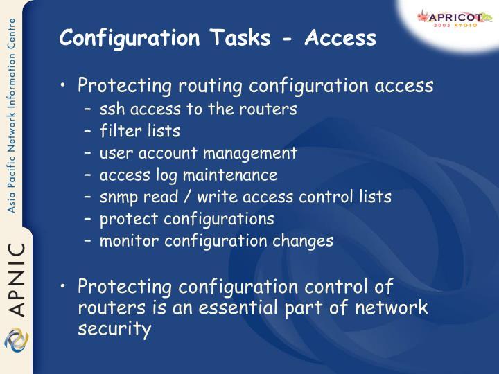 Configuration Tasks - Access
