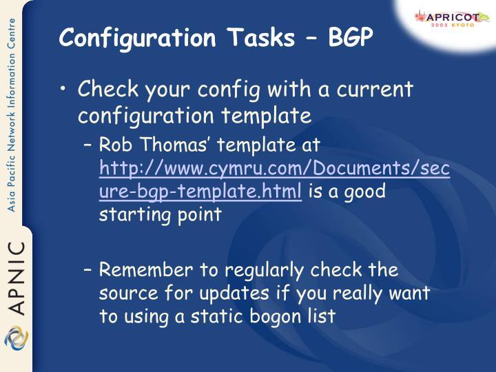 Configuration Tasks – BGP