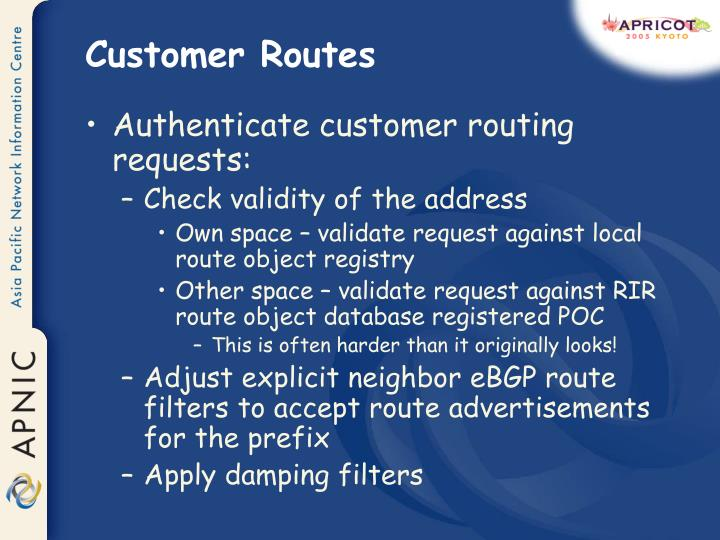 Customer Routes