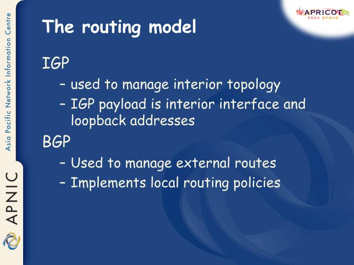 The routing model