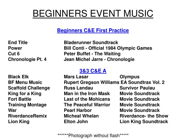 beginners event music n.