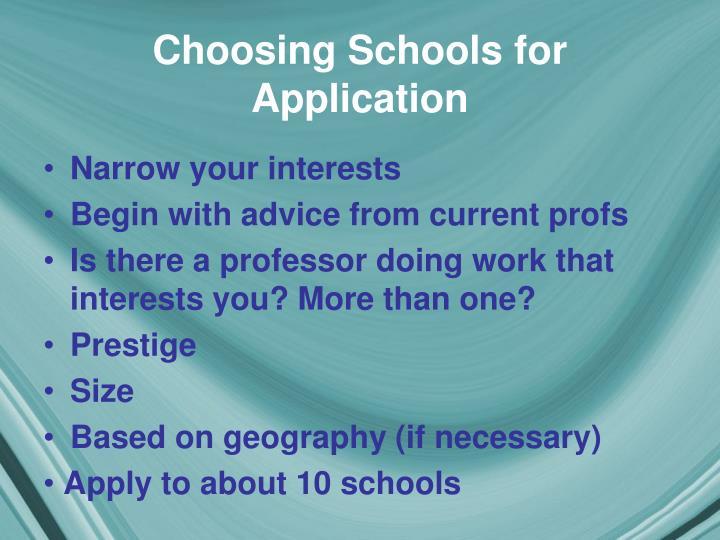 Choosing Schools for Application