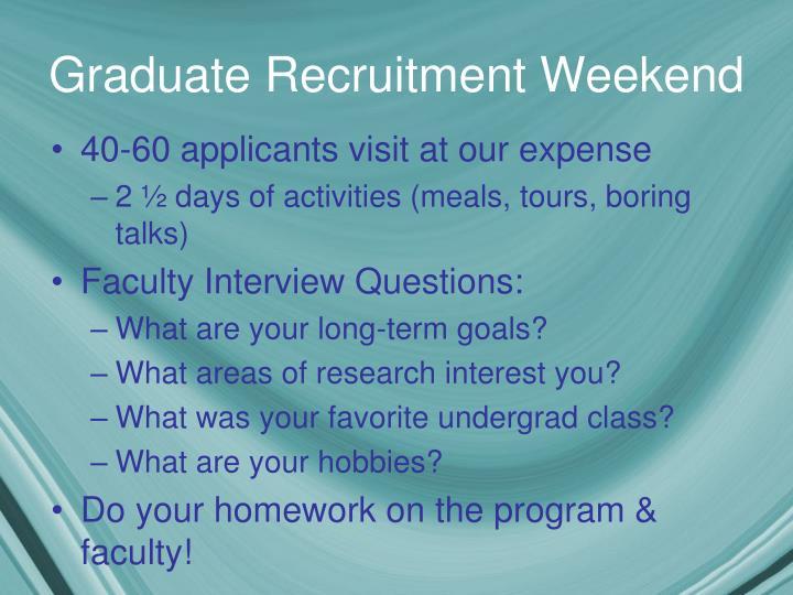 Graduate Recruitment Weekend