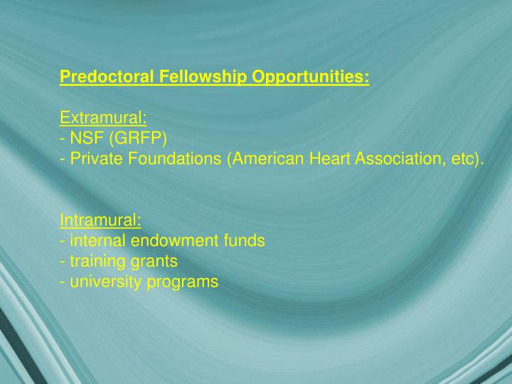 Predoctoral Fellowship Opportunities: