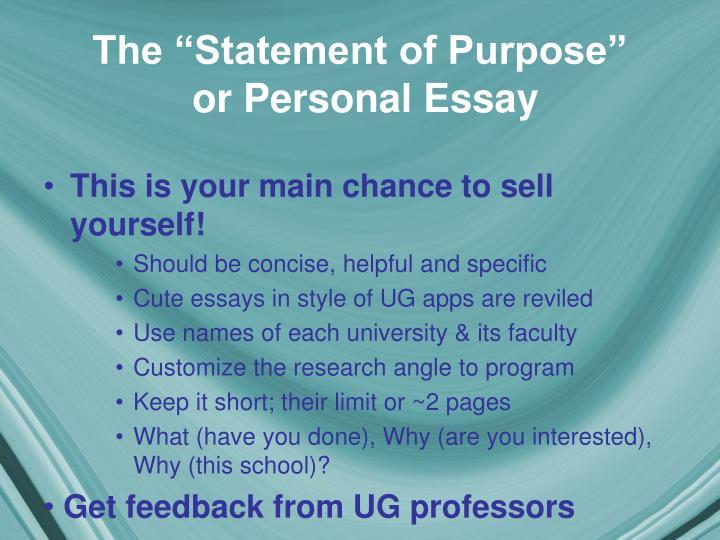 "The ""Statement of Purpose"""