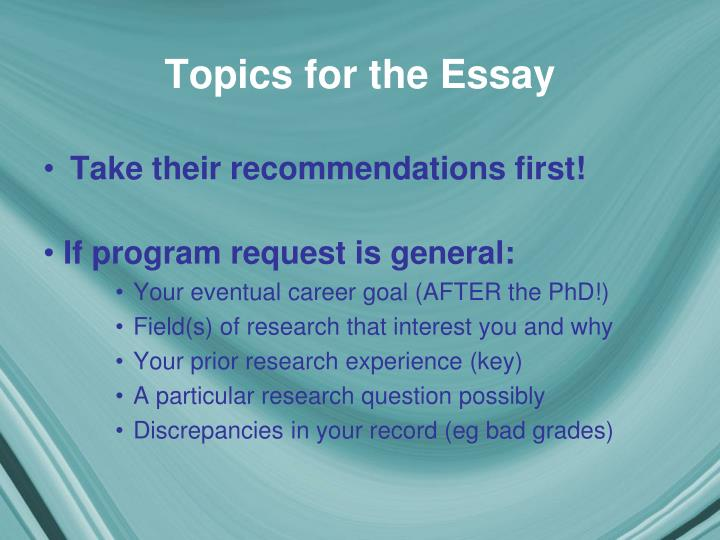 Topics for the Essay