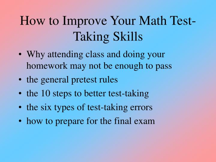 how to improve your math test taking skills n.