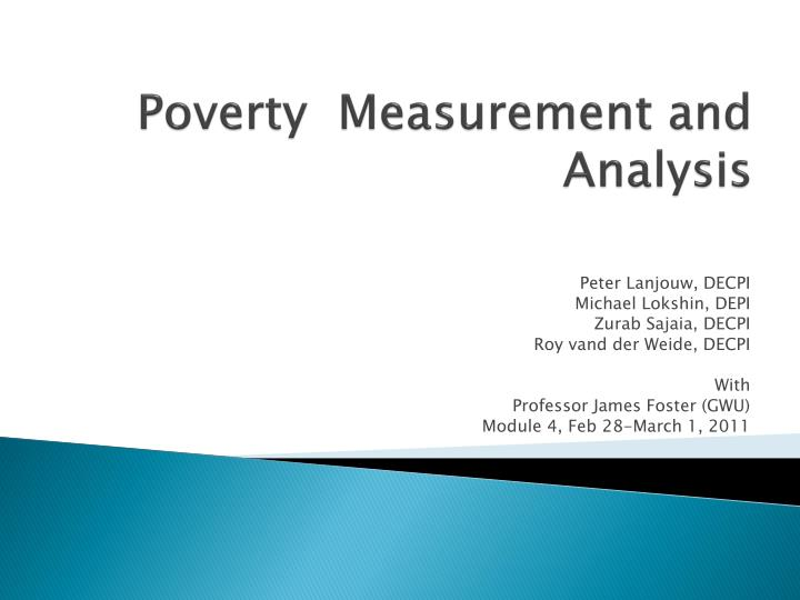 poverty measurement and analysis n.