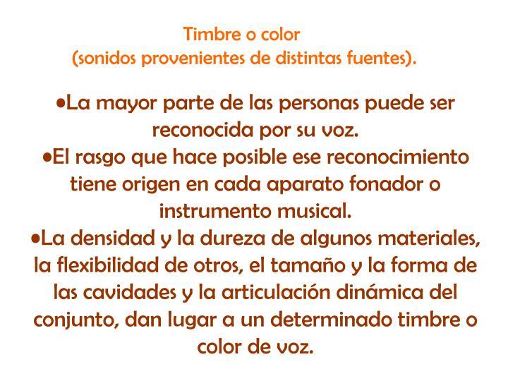 Timbre o color