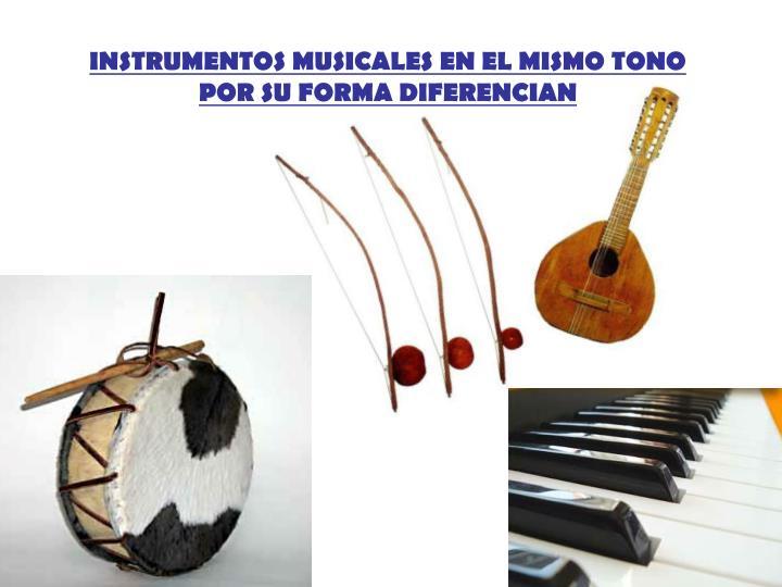 INSTRUMENTOS MUSICALES EN EL MISMO TONO POR SU FORMA DIFERENCIAN