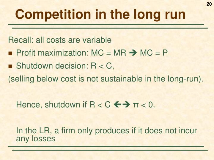 Competition in the long run