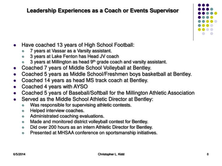 Leadership Experiences as a Coach or Events Supervisor
