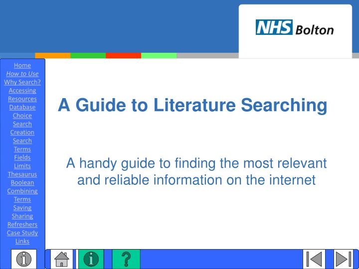 a guide to literature searching n.