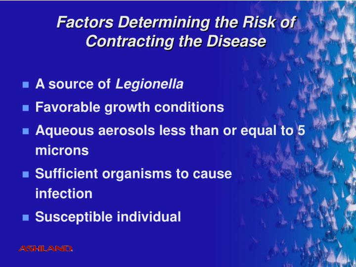 Factors Determining the Risk of Contracting the Disease