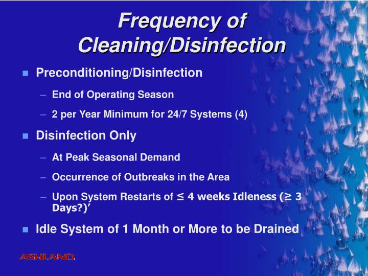 Frequency of Cleaning/Disinfection