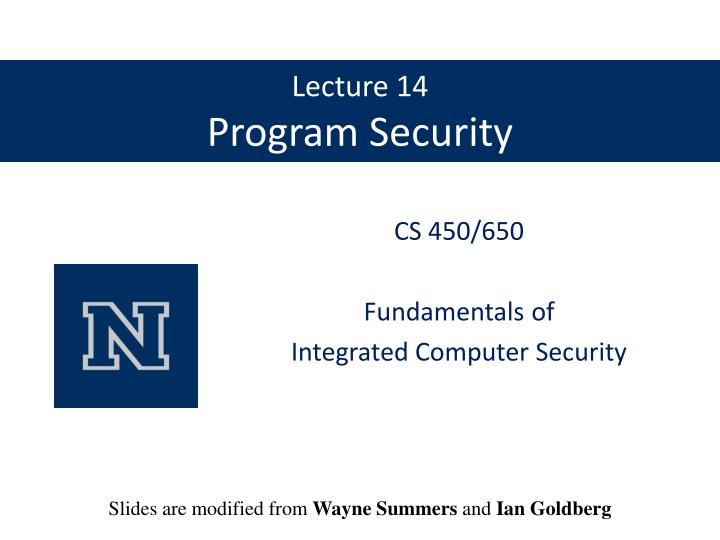 lecture 14 program security n.