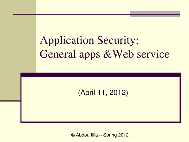 application security general apps web service n.