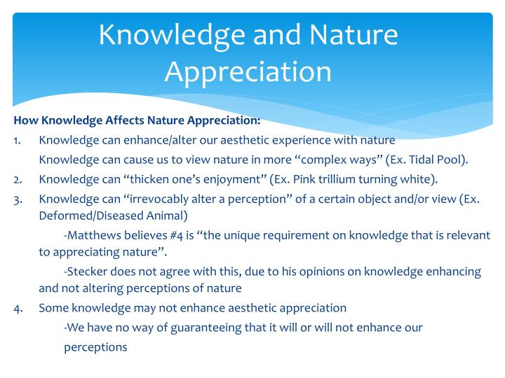 Knowledge and Nature Appreciation