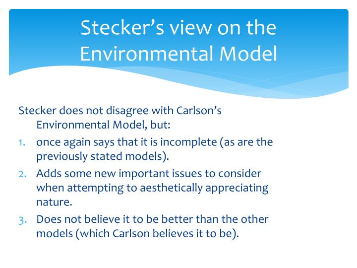 Stecker's view on the Environmental Model