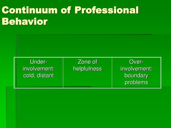 Continuum of professional behavior
