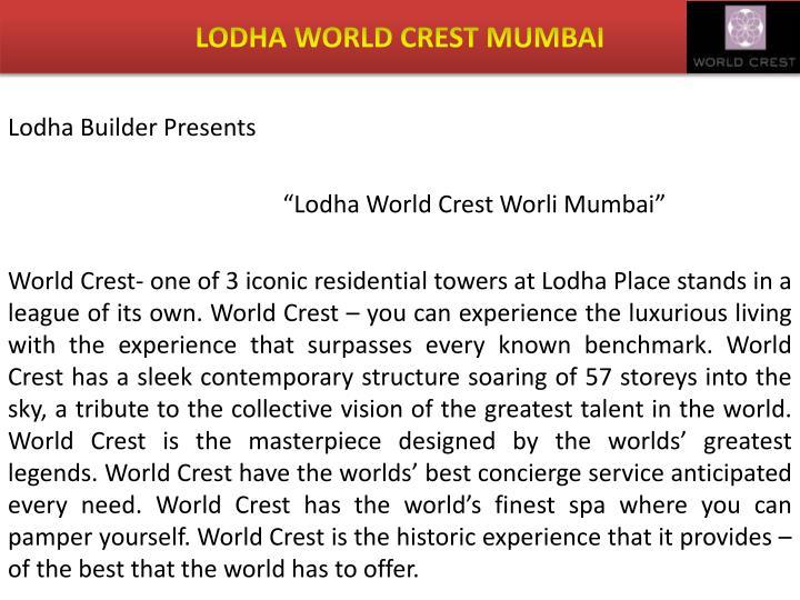 Lodha world crest mumbai