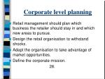 corporate level planning