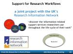 support for research workflows a joint project with the uk s research information network