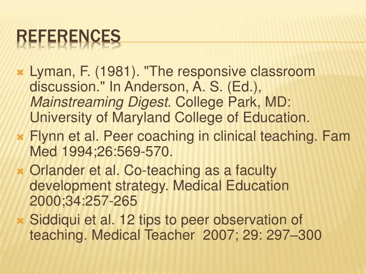 "Lyman, F. (1981). ""The responsive classroom discussion."" In Anderson, A. S. (Ed.),"